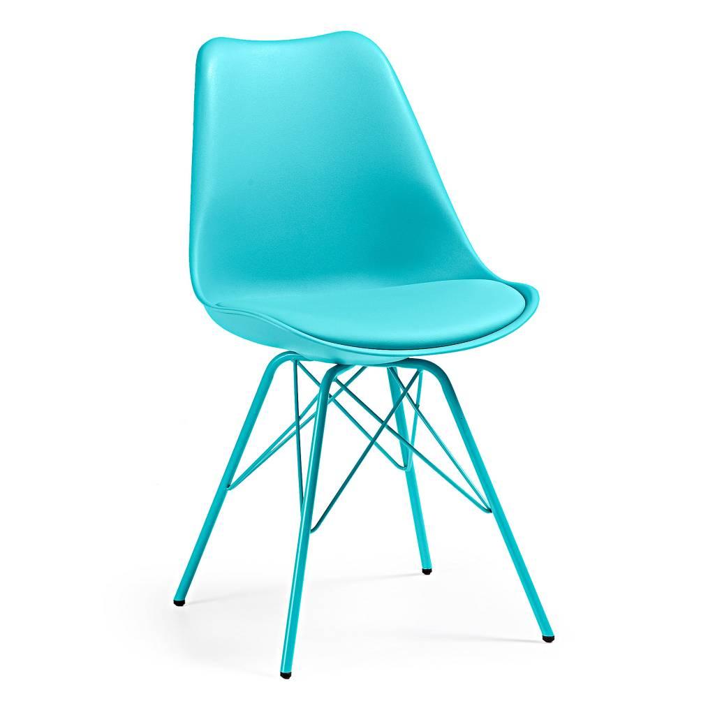 Laforma stoel lars metaal blauw trendy designs for Eetkamerstoelen blauw leer
