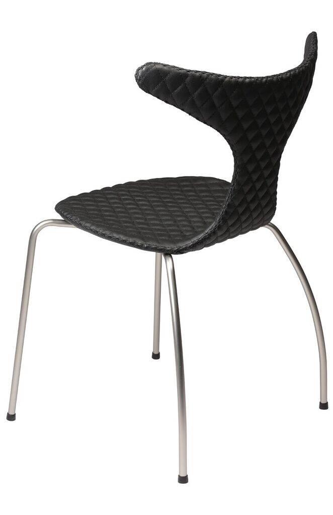 Dan Form Dan-Form stoel Dolphin Quilt zwart leer