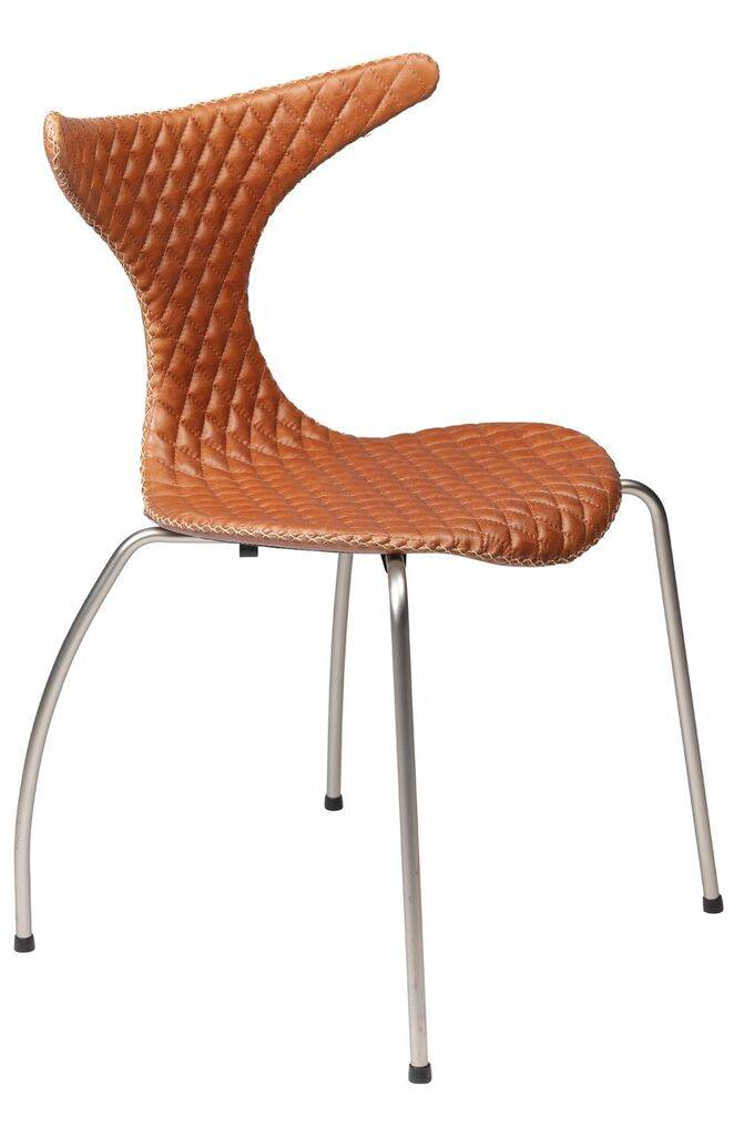 Dan Form Dan-Form stoel Dolphin Quilt bruin leer