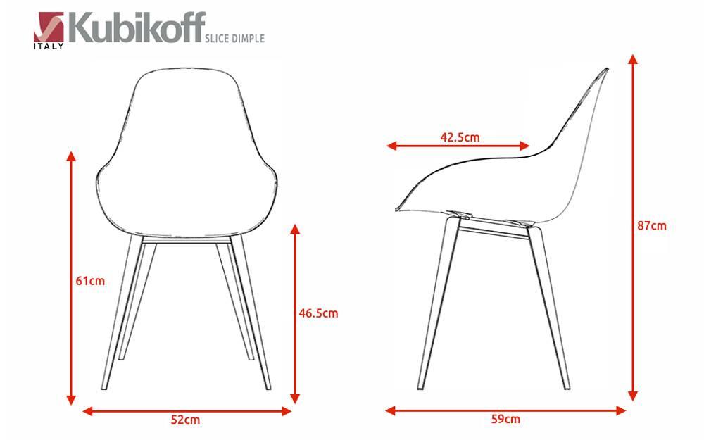 Kubikoff Kubikoff stoel Slice Dimple Closed - Wit - Eiken - Donker Grijs