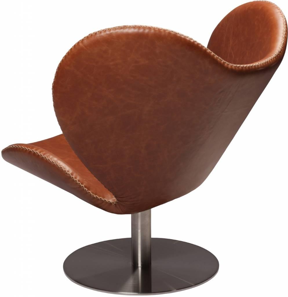 Dan Form Loungestoel butterfly bruin leer