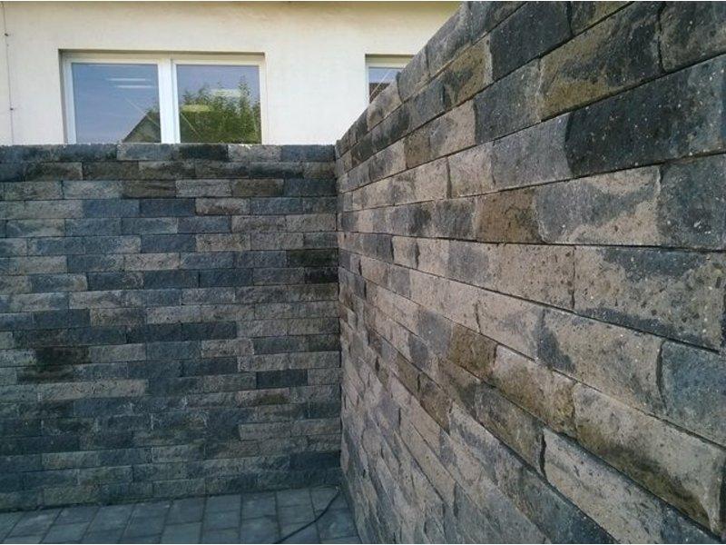 Mauerstein Grau/Schwarz gebrochen