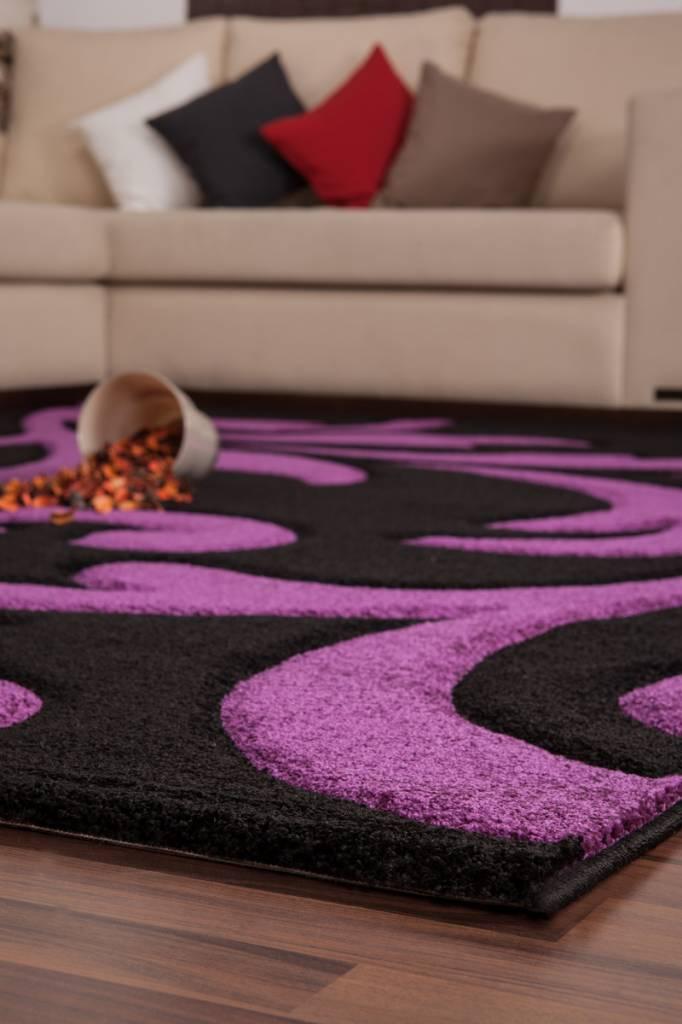 Df0062012 273 zwart paars vloerkleed d f - Salon violet et noir ...