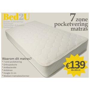 Bed2U 80 x 200 zone 7 Top qualité matelas à ressorts ensachés