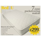 Bed2U 140 x 200 Topkwaliteit 7 zone pocketvering matras