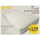 Bed2U 70 x 200 Topkwaliteit 7 zone pocketvering matras
