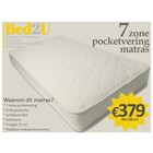 Bed2U 180 x 200 Topkwaliteit 7 zone pocketvering matras