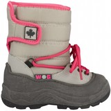 junior snowboots Velcro grijs/roze