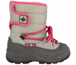 Winter-grip junior snowboots Velcro grijs/roze