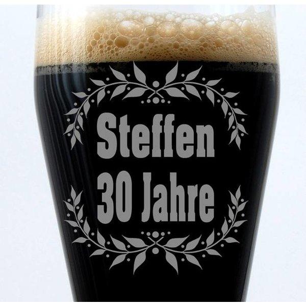 Weizenbierglas 0,5Liter Geburtstagsgeschenk mit Namensgravur
