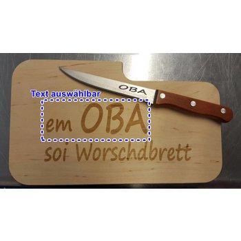 Schneidebrett mit Messer und Branding (Name auswählbar)