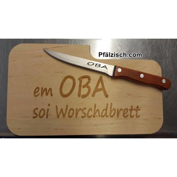 Schneidebrett mit Messer und Branding (selbst designen)
