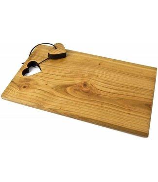 Schneidbrett aus Kirsch Holz rechteckig mit ausgelaserter Form an Lederband