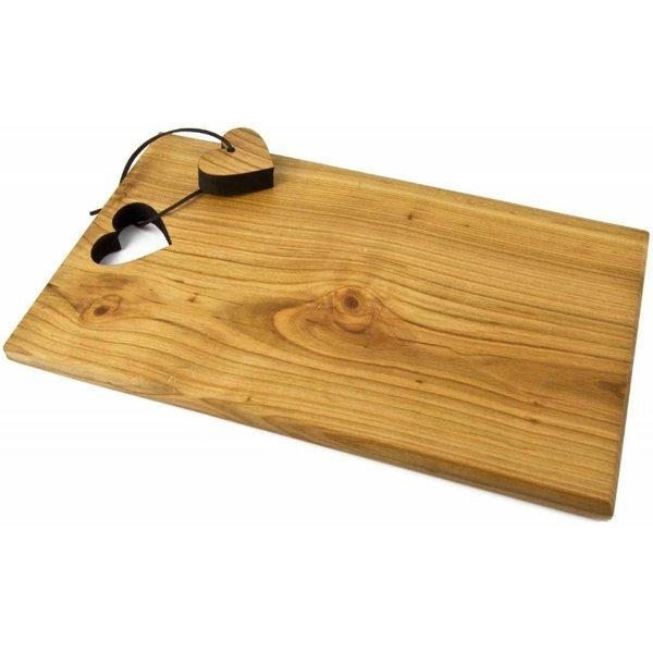 schneidbrett aus kirsch holz rechteckig mit ausgelaserter form an lederband. Black Bedroom Furniture Sets. Home Design Ideas