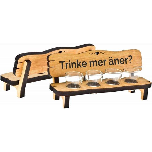 Schnapsbank mit 2, 4 oder 6 Stamperl aus geöltem Erlen Holz (mit Branding)