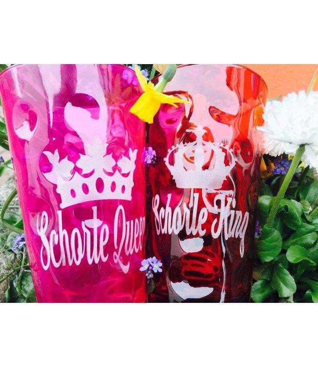 Schorle Queen & Schorle King - Farbige Dubbegläser graviert