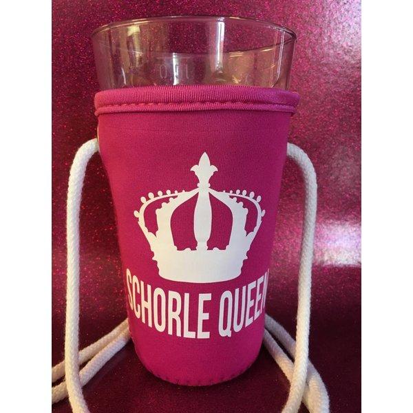 Schorle Queen Schorlehalter/Dubbeglashalter in pink/fuchsia