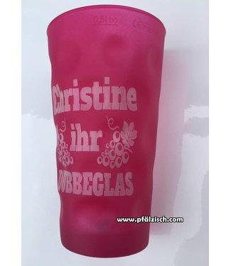 Farbige Dubbegläser mit Deinem Namen (pink matt)