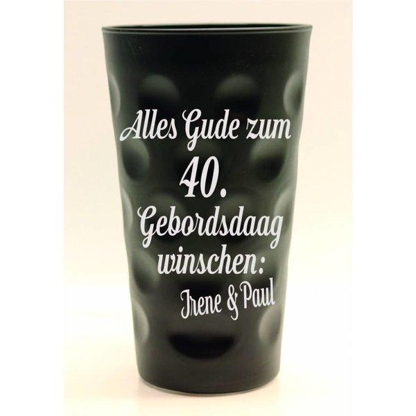 Geburtstags Dubbeglas schwarz (Alter wählbar)  0,5 Liter