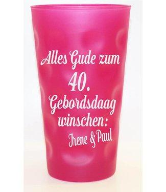 Geburtstags Dubbeglas pink matt 0,5 Liter