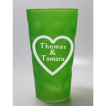 Dubbeglas grün mit Herzgravur