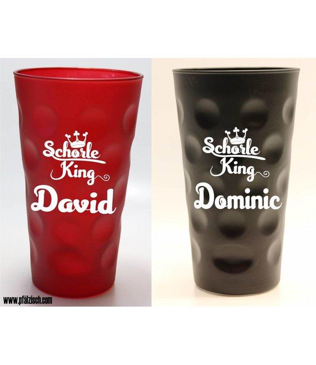 Schorle King Dubbeglas mit Name (rot & schwarz)