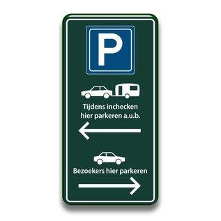 Parkeerbord inchecken en bezoekers 400 x 800 mm