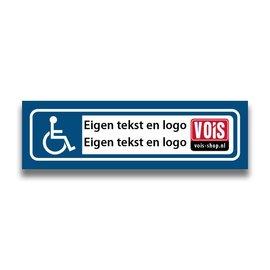Volkern vlakbord invalide parkeren eigen tekst en logo