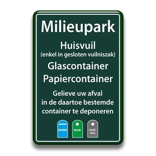 Milieuparkbord-huisvuil-glas-papier 400 x 600 mm