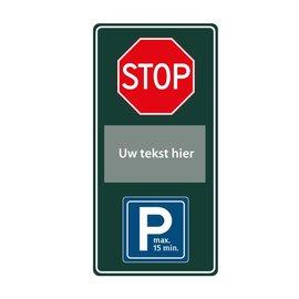 Stopbord parkeren eigen tekst