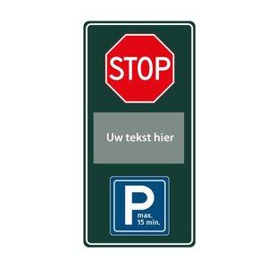 Stopbord parkeren eigen tekst 400 x 1000 mm