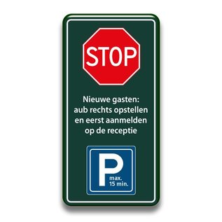 Stopbord parkeren nieuwe gasten 400 x 1000 mm