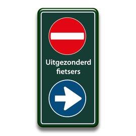 Verboden toegang bord+richting uitgez. fietsers