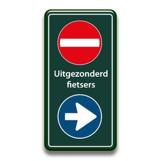 Verboden toegang bord+richting uitgez. fietsers 400 x 800 mm