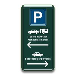 Receptiebord parkeren inchecken