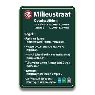 Milieustraatbord regels 400 x 600 mm