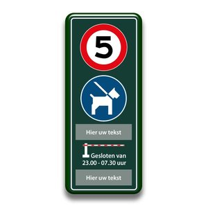 Snelheid + honden + slagboom eigen tekst 400 x 1000 mm