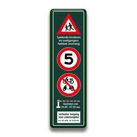Sp. kinderen + snelheid + brommers + slagboom + verboden