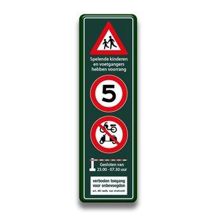 Sp. kinderen + snelheid + brommers + slagboom + verboden 400 x 1400 mm