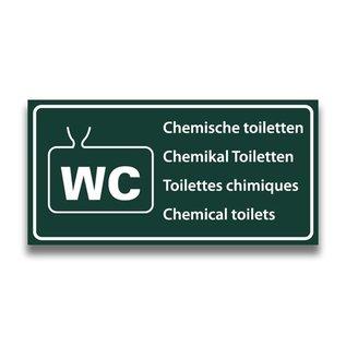 Toiletbord chemisch toilet met tekst