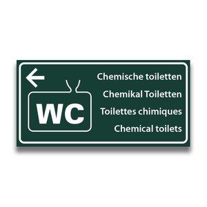 Toiletbord chemisch toilet met pijl naar links