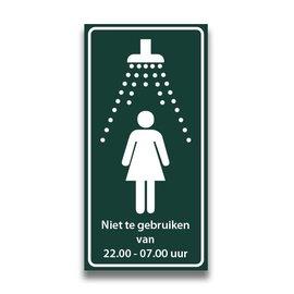 Toiletbord douche dames met tekst