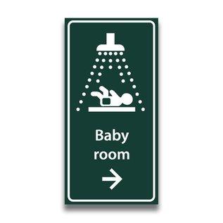 Toiletbord babyroom met tekst en pijl