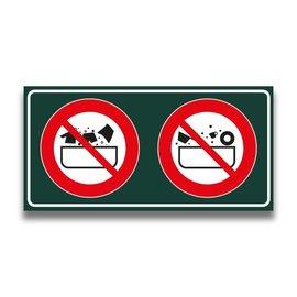 Toiletbord verboden kleding + vaatwas