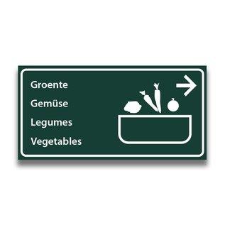 Toiletbord wasplaats groenten met pijl (R)