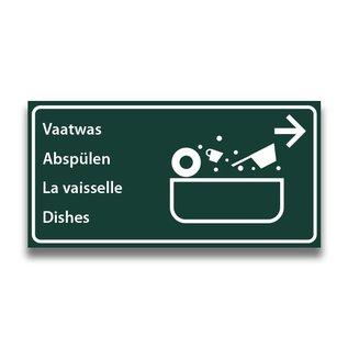 Toiletbord wasplaats vaatwas met pijl (R)