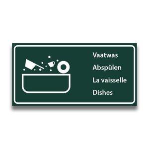 Toiletbord wasplaats vaatwas met tekst