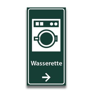Toiletbord wasserette met tekst en pijl