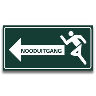 Nooduitgang tekst links 300 x 150 mm