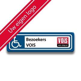 Parkeerplaatsbord Invalide Eigen tekst en logo